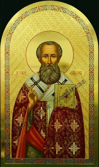 Святитель Григорий Богослов. Рукописная икона. Икона с эмалью