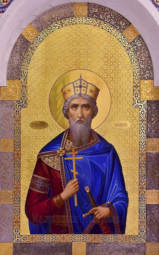 Икона князя Владимира написанная во фряжском стиле в иконостас