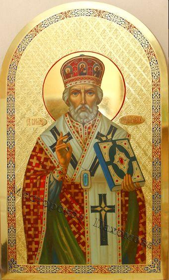 Икона Святителя Николая Чудотворца. Золочение фона сусальным золотом