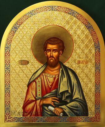 Святой апостол Иаков Алфеев. Икона на золотом фоне. Писанная икона на заках