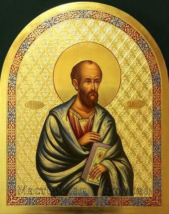 Икона апостола Симона. Рукописная икона - дерево, масло, сусальное золото!