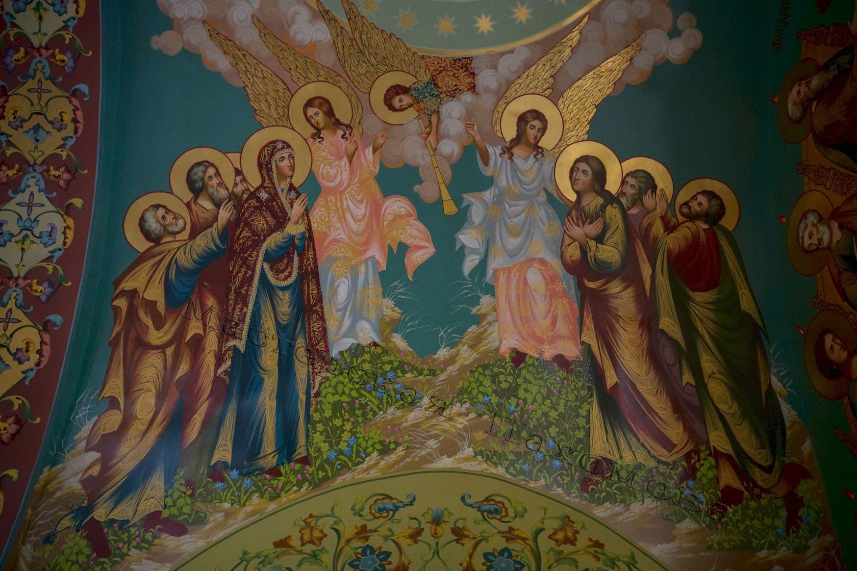 Вознесение. Иисус Христос, ангелы, апостолы с Богородицей