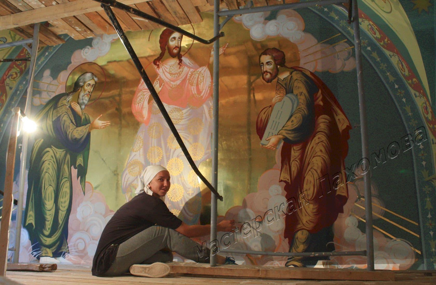 Процесс росписи собора. Иконописец Глазунова Елена
