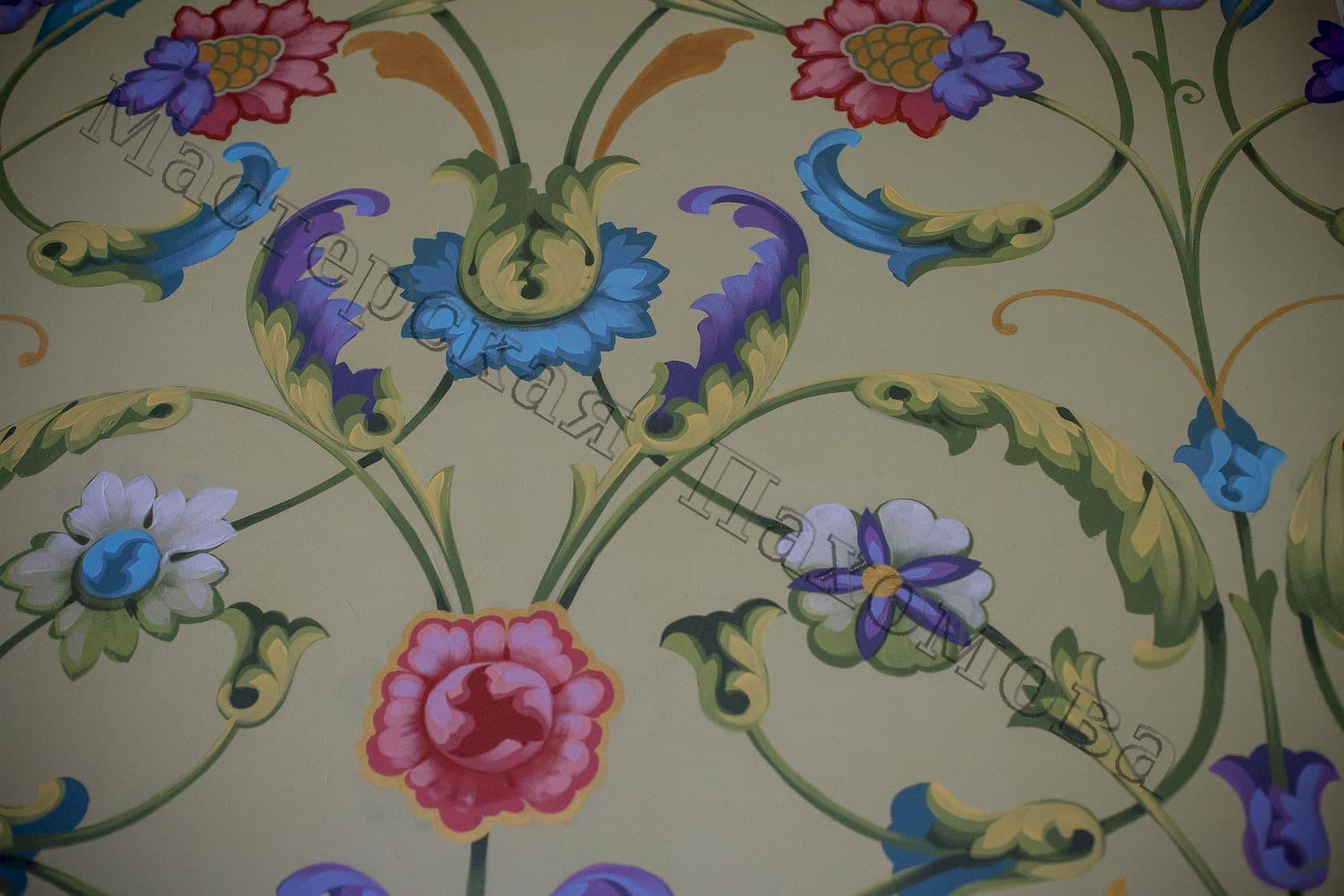 Роспись стен православного храма - растительный орнамент