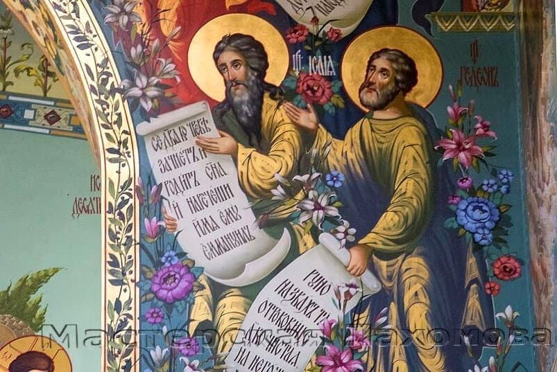 Стенопись. Иконы святых на стенах-золочение, твореное золото