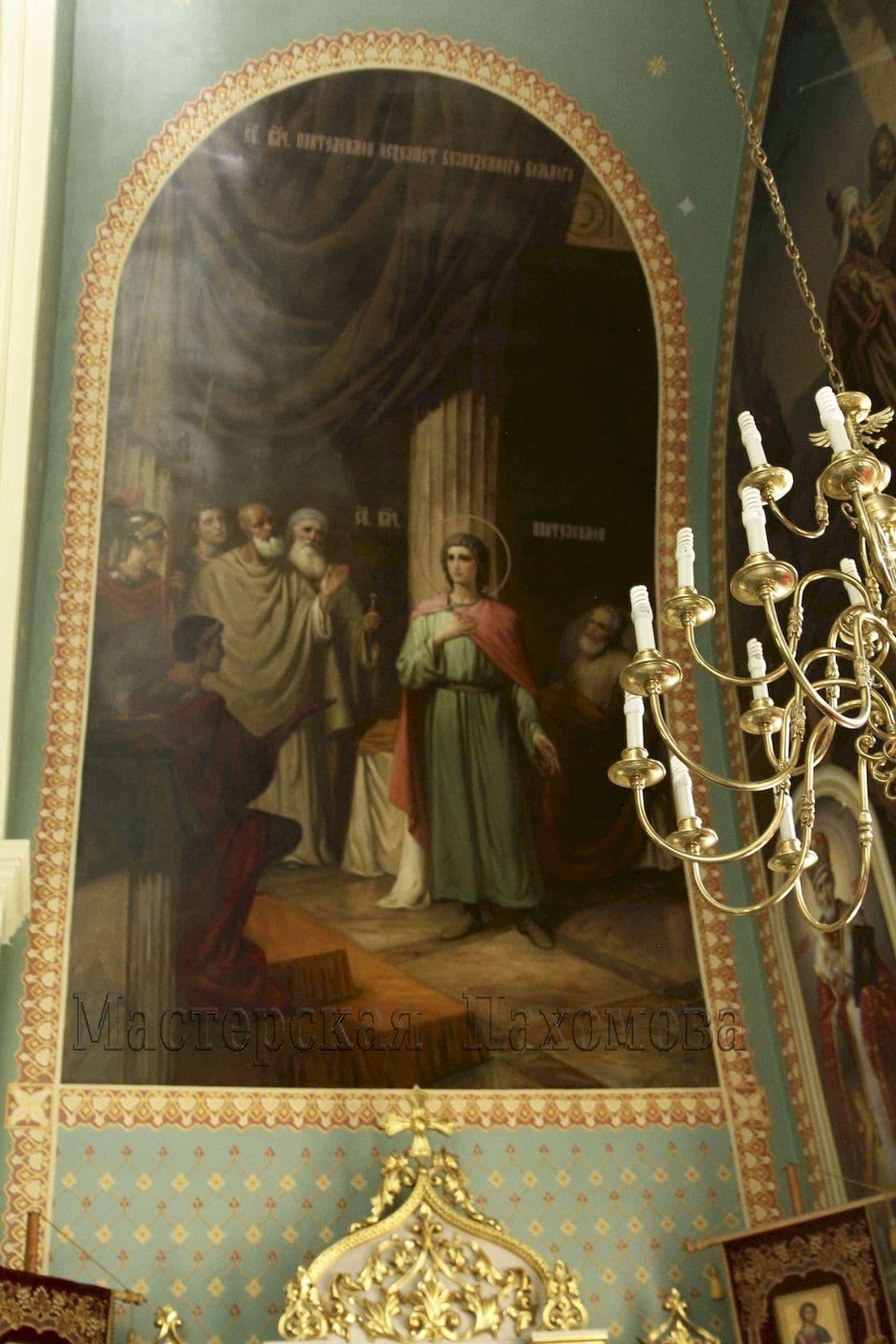Иконописная мастерская Пахомова в 2017 г. приступила к росписи стен Храма Пантелеймона Целителя