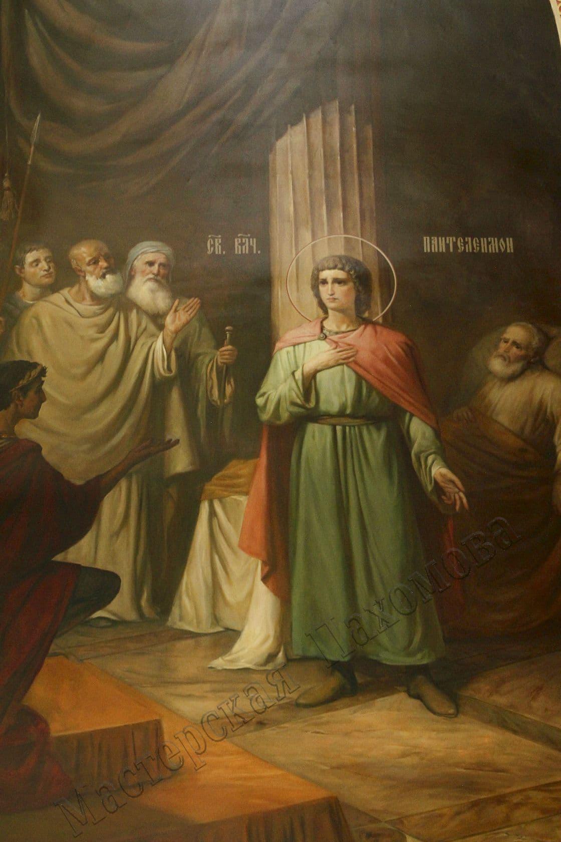 Беседа Святого Пантелеймона с императором Максимианом. Авторская роспись храма