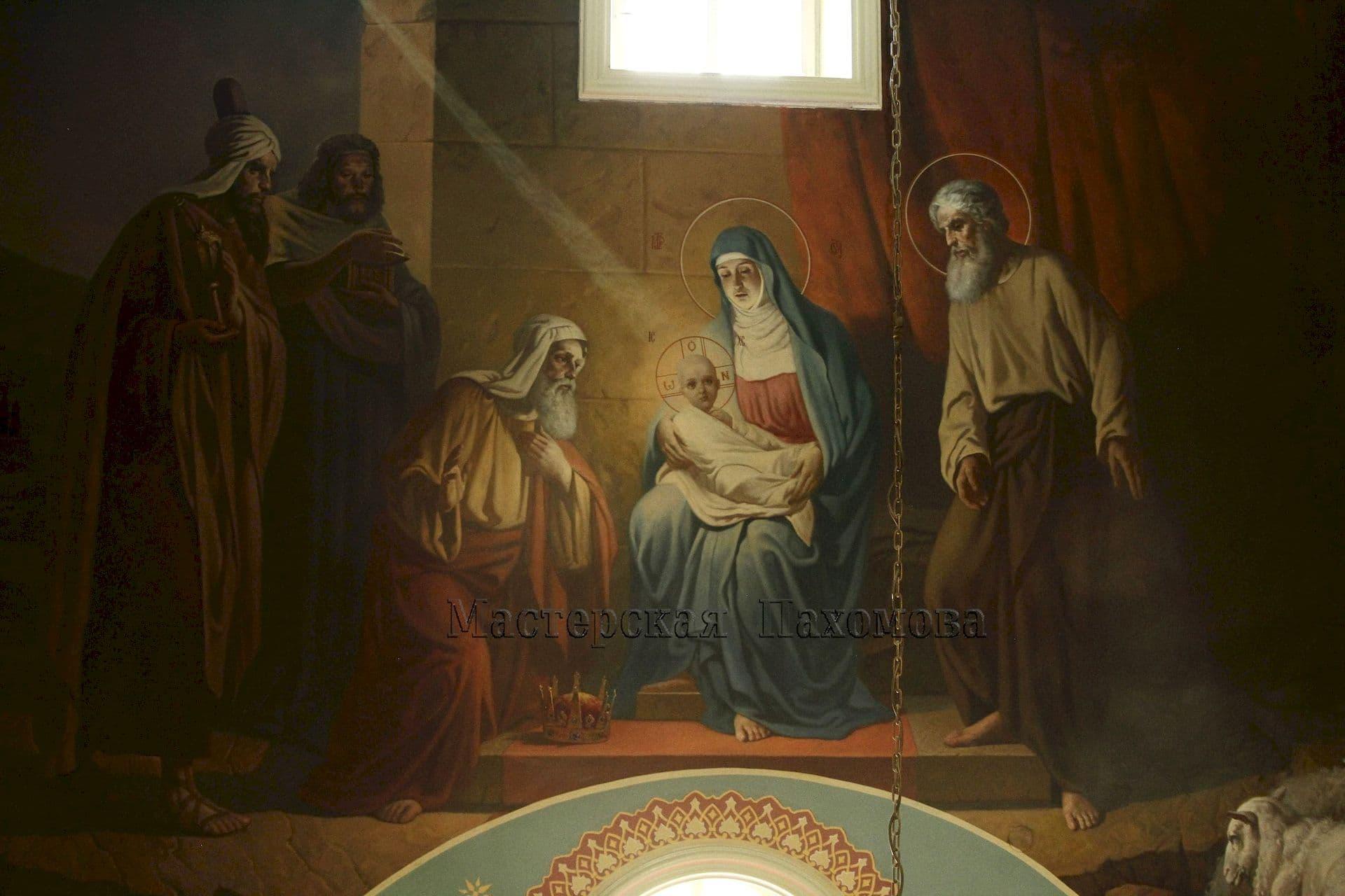 Настенная роспись в храме. Рождество Христово - икона на стене в Храме Св. Пантелеймона