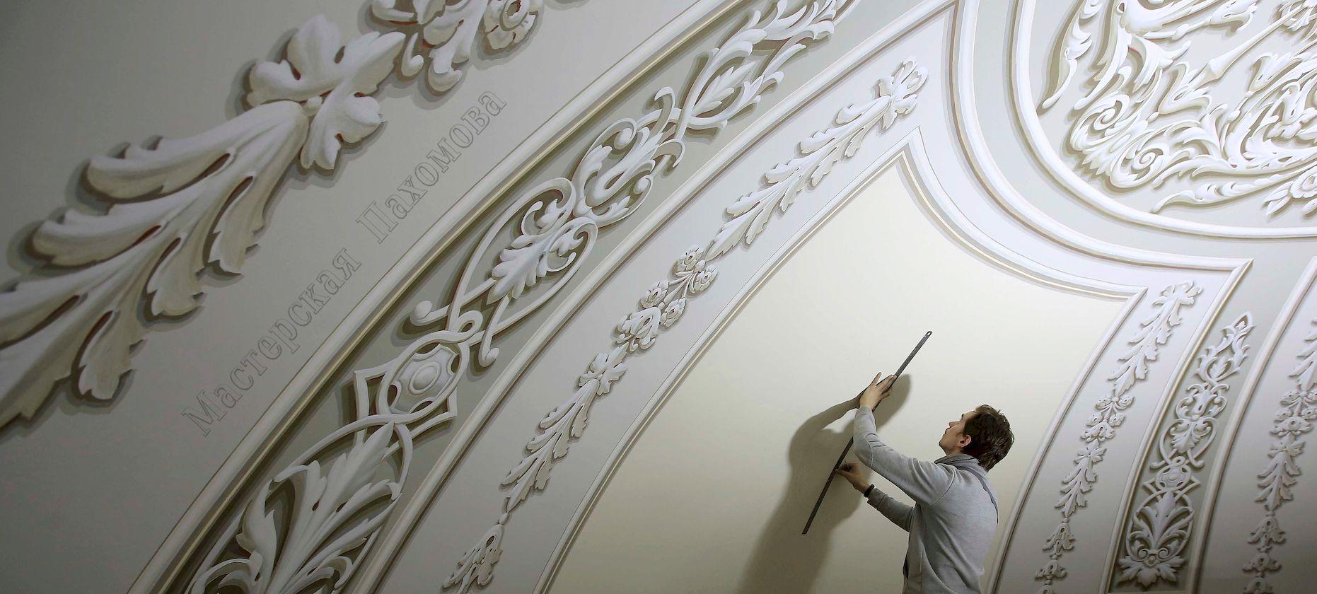 Альфрейная живопись центрального купола в Казанском соборе