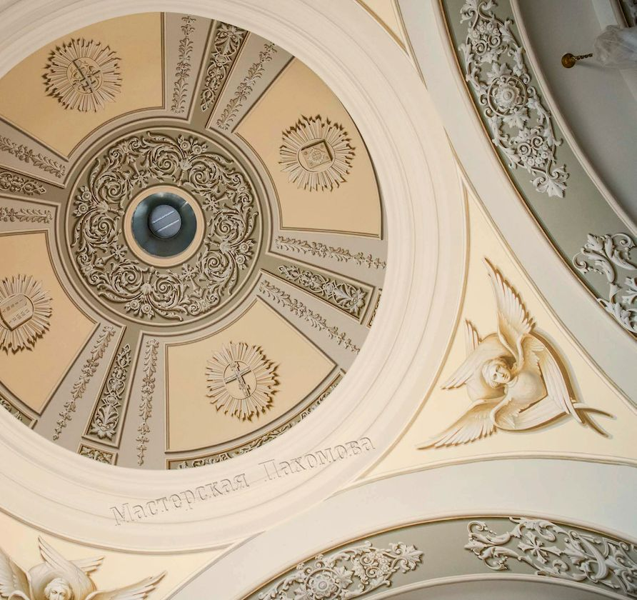 Альфрейная роспись малого купола в Казанском соборе