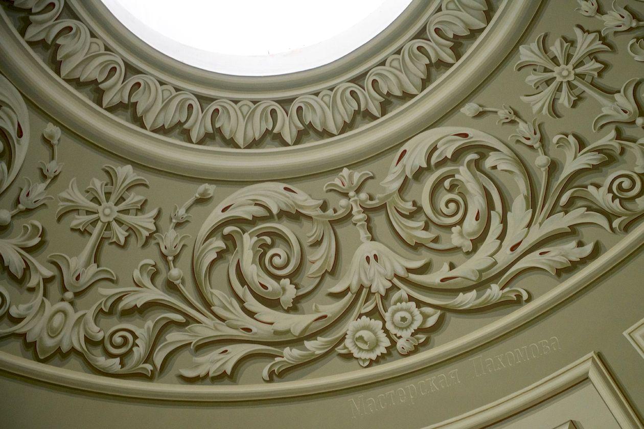 Альфрейная роспись малого купола храма под гипс. Казанский собор