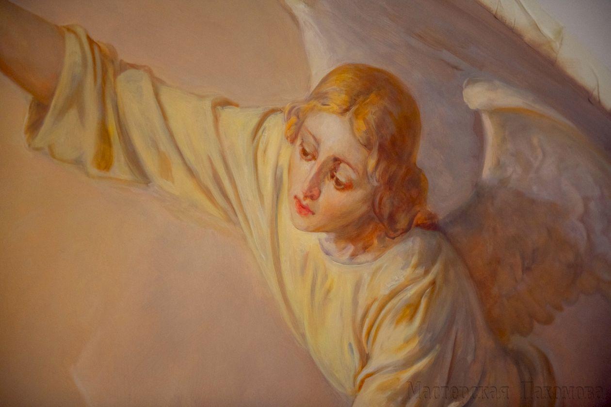 Роспись Храма. Ангел в настенной композиции - Достойно есть!