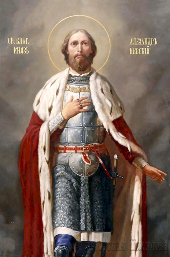 Святой Благоверный князь Александр Невский. Авторская роспись, академический стиль