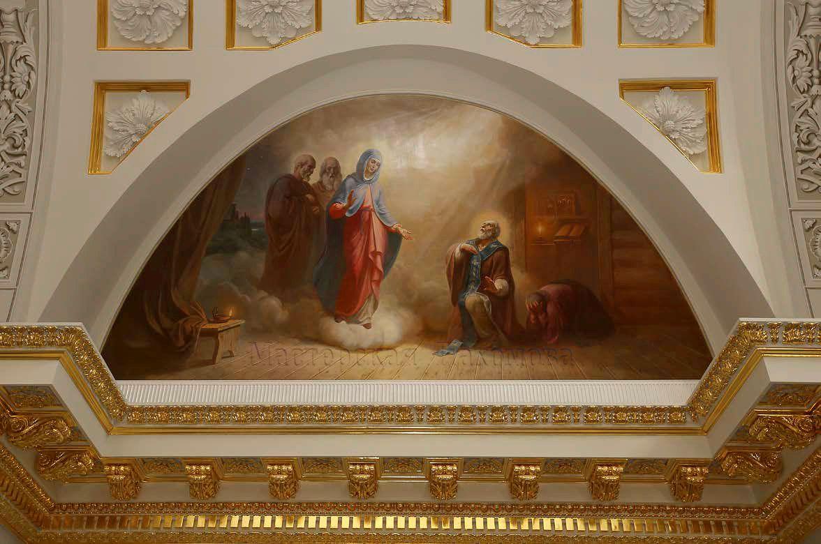 Сюжет малого люнета - Явления Богоматери преподобному Сергию