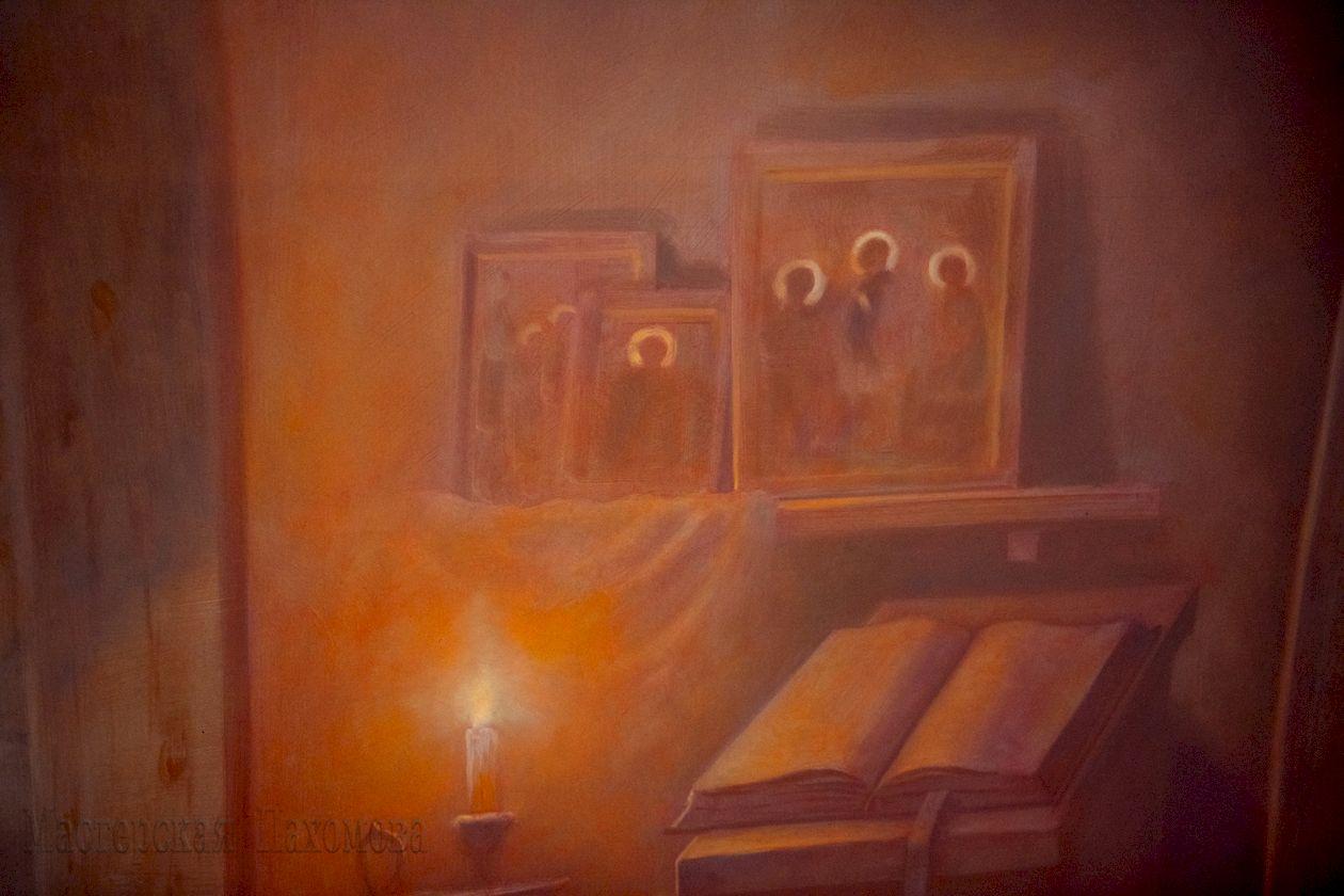 Фрагмент настенной росписи собора - сцена явления Богоматери преподобному Сергию Радонежскому