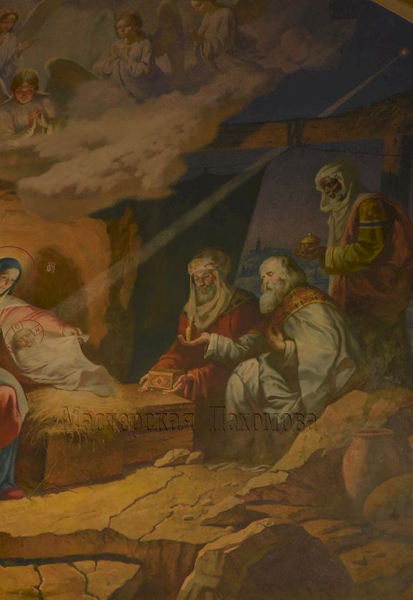 Фрагмент настенной росписи в академическом стиле - Поклонение волхвов